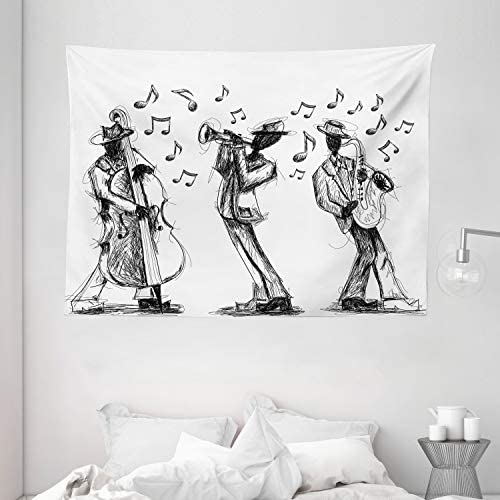 Ambesonne Music Tapestry, Sketch Style of a Jazz Band Playing Music with Instruments and Musical Notes Print, Wide Wall Hanging for Bedroom Living Room Dorm, 80 X 60 , White and Black