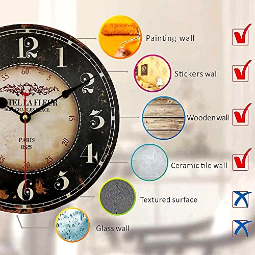 14 inch Round Black Paris Decorative Wall Clock with Big Arab Numerals, Retro Wood Wall Clocks for Living Room,Office and Kitchen,Colorful Quality Quartz Quiet Round Hanging Clock