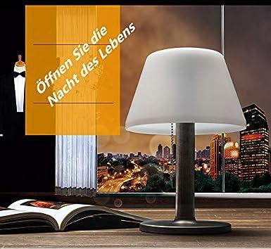LED Solar Tischleuchte kabellos mit Akku Au/ßenleuchte Beetbeleuchtung Indoor /& Outdoor LED Tischlampe Solar Cell wei/ß Sun-Light Tischleuchte