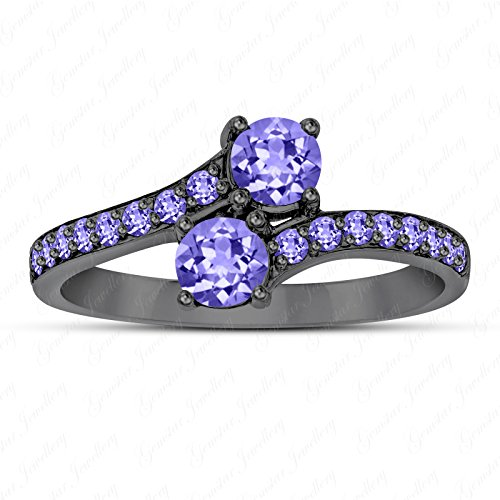 Gemstar Jewellery Two Stone Bypass Engagement Ring with Round Purple Tanzanite 14K Black Gold Fn (Ring Two Stone Bypass)