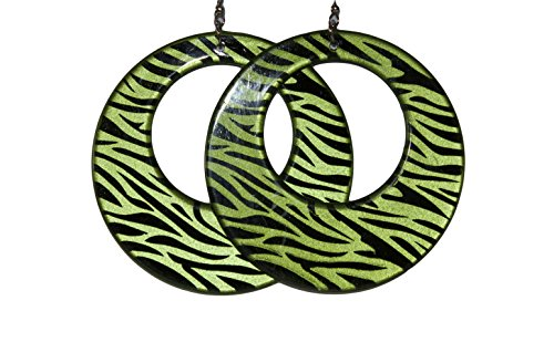 (Circular Plastic Animal Zebra Print Colored Earrings (Green))