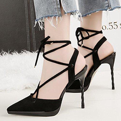 Voyage Ankle Ladies Nightclub Spiky Ceinture Court Crossover Straps Sandals Pompes Noir Banquet Strap Noeuds Partie Sexy Heels 6nfnIpr