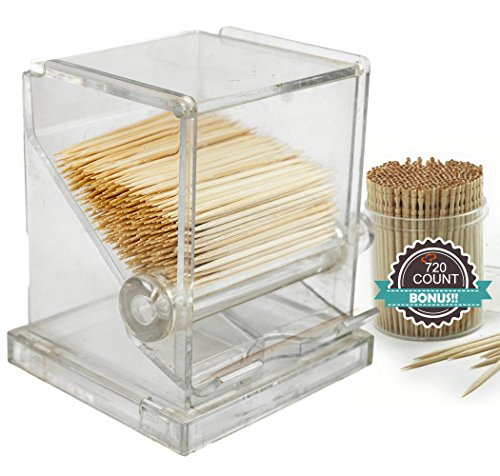 Tiger Chef Clear Acrylic Toothpick Dispenser Includes 720 Ornate Wood Toothpicks, 5 x 3.5 x 3.2 Inches by Tiger Chef