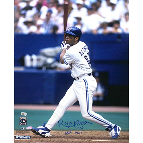 (MLB Toronto Blue Jays Roberto Alomar White Jersey Swing Vertical 8x10 Photo with HOF Inscription)