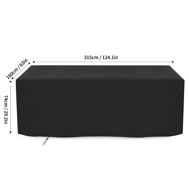 Impermeable para Exteriores Funda para sof/á de Esquina Color Negro para Mesa de Patio Funda para Muebles de jard/ín Tela Oxford 315 x 160 x 74 cm Transpirable Rectangular Dokon