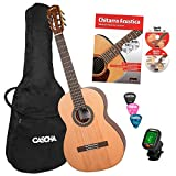 CASCHA 4/4 Classical Guitar Beginner Set including textbook, tuner, gigbag/bag, 3 plectrums, classical guitar for children from 10 years for beginners