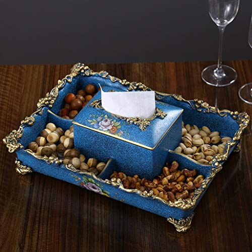 Mai tray Household Creative Tissue Box, Living Room Coffee Table Fruit Candy Dish Melon Nut Box Practical (Color : Blue)