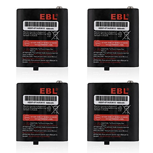 EBL Pack of 4 Two-Way Radio Rechargeable Batteries 3.6V 1000mAh for Talkabout Motorola 53615 KEBT-071A KEBT-071-B KEBT-071-C KEBT-071-D 650 Mah Replacement Battery