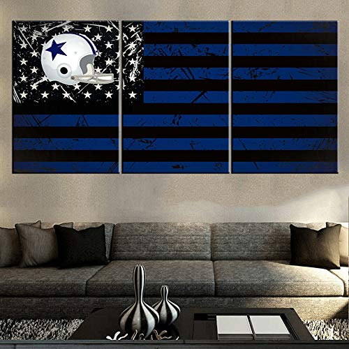 Mookou Wall Art for Living Room Dallas Cowboys Flag Pictures Blue Black Stripes Paintings 3 Panel Contemporary Artwork on Canvas House Decorations Framed Ready to Hang Posters and -