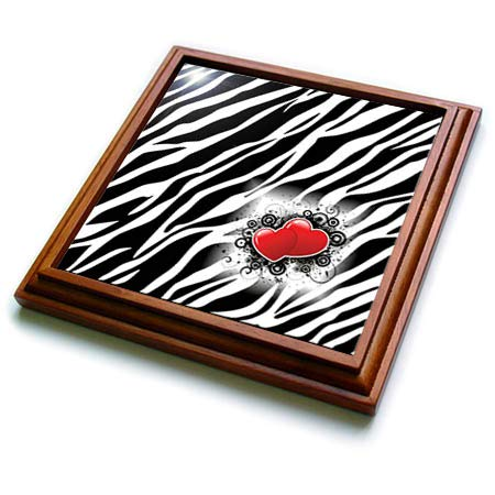 3dRose lens Art by Florene - Black And White - Image of Popular Zebra Print With Red Hearts - 8x8 Trivet with 6x6 ceramic tile (trv_317090_1) ()