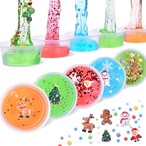 LEEHUR Christmas Party Favors Slime 5Pcs Clear Crystal Stretchy Putty Stocking Stuffers Clay Sludge Squeeze Toys for Kids Adult Stress Relief Home Office Decoration