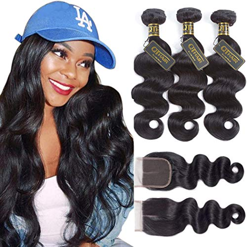 "QTHAIR 12A Brazilian Body Wave with Closure(16"" 18"" 20"" with 14"") 100% Unprocessed Brazilian Virgin Body Wave Hair Weave with 4x4 Swiss Lace Closure"