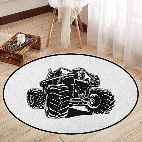 Round Carpet,Truck,Modified Automobile Monochrome Sketch Pattern Monster Pickup Truck Off Road Vehicle,Door Floor Mat for Bedroom,3'3