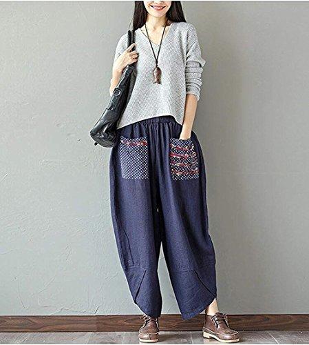 Élastique Étirer Pants Wide Mode Splicing Ethnique Oversize Blau Bouffant Leg Printemps Poches Taille Dame Femme Sarouel Elégante Loisirs style Pantalon Automne Casual De YqCTTO