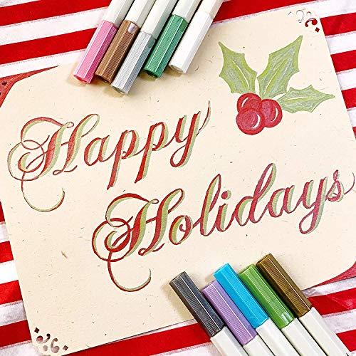 Metallic Markers Glitter Paint Pen Calligraphy Brush Pens, Ohuhu Set of 10 for DIY Birthday Greeting Gift Thank You Card, Scrapbook Photo Album, Rock Art Painting, Brush Tip Back to School Art Supply by Ohuhu (Image #5)