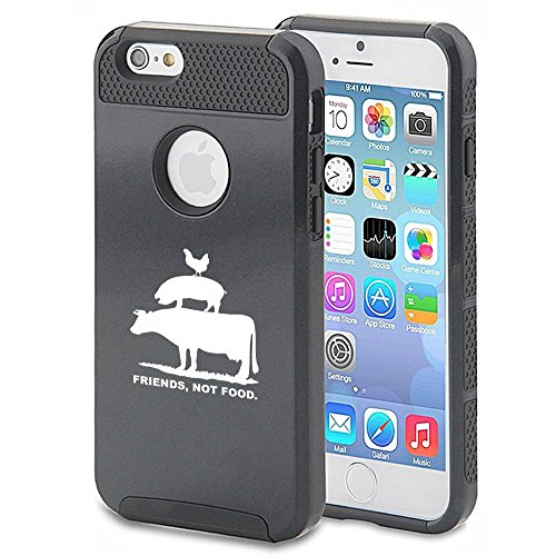 For Apple iPhone 5 5s Shockproof Impact Hard Soft Case Cover Friends Not Food Vegan Farm Animal Rights (Black)