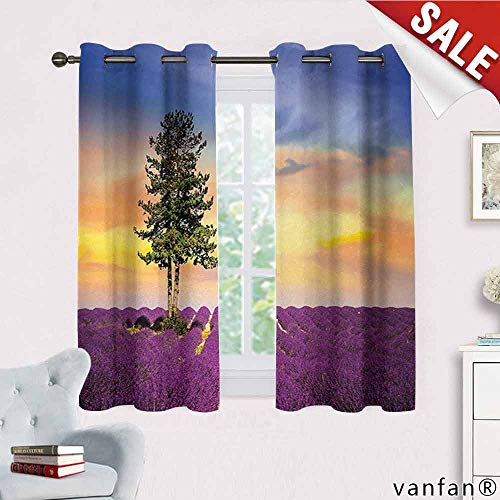 Big datastore Lavender, Curtains for Party Decoration,Purple Fields with Sunset Sky and Large Green Tree French Village Country Design, Room Darkening, W72 x L63 Multicolor