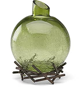 We Love by Pavilion 4-Inch Decorative Glass Vase with Base, Sage Green
