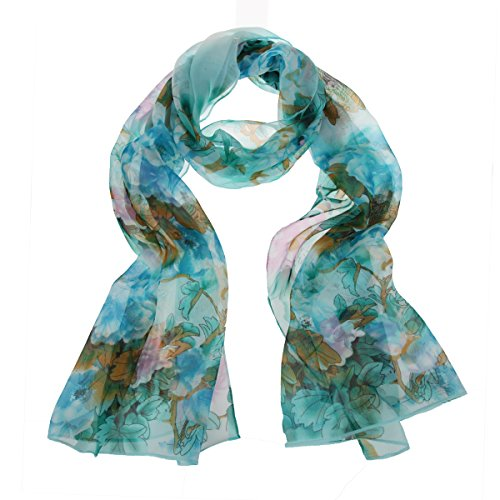 ChikaMika Priting Peony Viscose Scarf Light Weight Long Chiffon Viscose Scarves