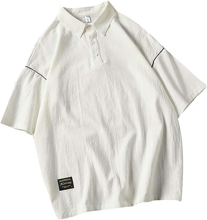 NREALY Camisa Mens Summer Fashion Shirts Casual Short Sleeve Beach Tops Loose Casual Blouse