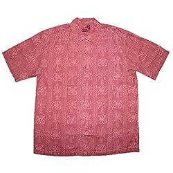 Tommy Bahama Mens Light Weight Silk, Summer Camp Shirt M Light Red