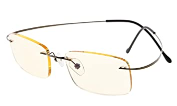 66ca2c5947f Image Unavailable. Image not available for. Color  Eyekepper Titanium  Rimless Computer Glasses Readers Men Women Gunmetal