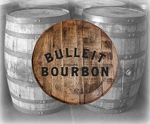 Home Bar Decor Bulleit Frontier Bourbon Whiskey Rye Barrel Lid Wood Wall Art