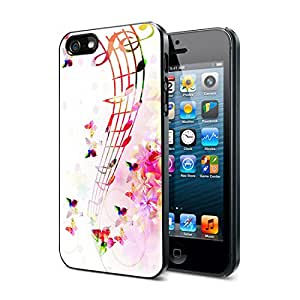 Musical Notes Flowers And Butterflies - iPhone 4/4s Cover Case