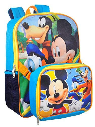 Disney Boys' Mickey Backpack with Lunch Kit, Blue, One Size (Mickey Mouse Head Lunch Box With Thermos)