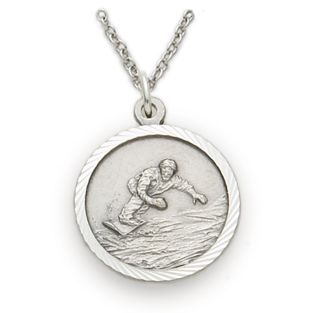 3//4 Inch TrueFaithJewelry Sterling Silver Snowboarding Sports Medal with Christ Cross Back