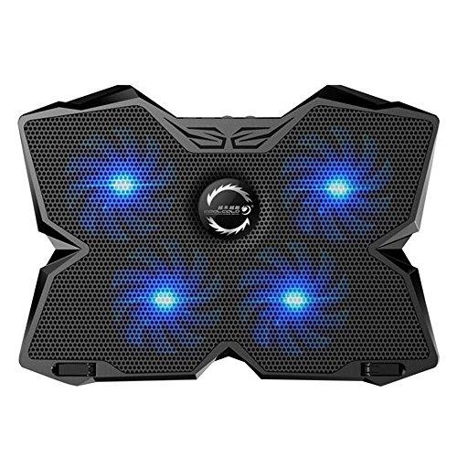 KOBWA Laptop Kühler Kühlung Unterlage Ständer 15,6-17.3 Zoll Ultra-ruhig Notebook Cooler Cooling Pad mit Fünf Höhenverstellbar und Dual USB Port für Macbook Laptop Notebook(Blau)