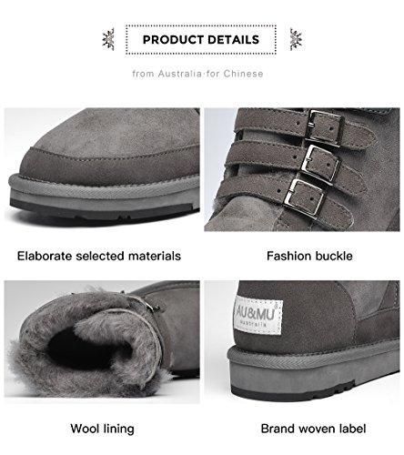 Mid Boots Grey Short Calf Winter Aumu Womens Snow amp;MU AU Boots 4xw6qtpM