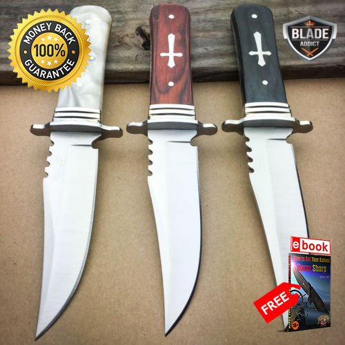 3 PC 8'' STAINLESS STEEL CELTIC CROSS HUNTING KNIFE WOOD HANDLE Gothic Skinning For Hunting Tactical Camping Cosplay + eBOOK by MOON KNIVES