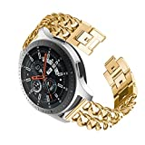 Dollcora for Galaxy Watch 46mm Double Row Denim Chain Replacement Bands Compatible Amazfit Huami 2/2S Samsung Gear S3/Cassic/Frontier Moto 360 Garmin Vivomove (Gold)
