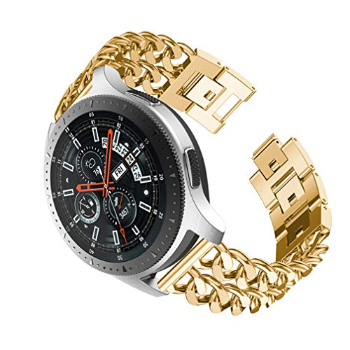 Dollcora for Galaxy Watch 46mm Double Row Denim Chain Replacement Bands Compatible Amazfit Huami 2/2S Samsung Gear S3/Cassic/Frontier Moto 360 Garmin Vivomove (Gold) ()