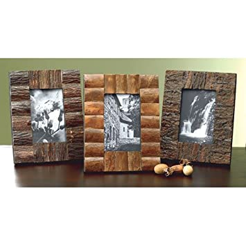 set of 3 rustic tree bark wood 4x6 frames by kindwer