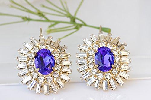 - BLUE FORMAL EARRINGS, Bridal Gift, Swarovski Earrings, Statement Earrings, Sapphire Earrings, Estate Woman Jewelry, Blue Royal Drop Earrings