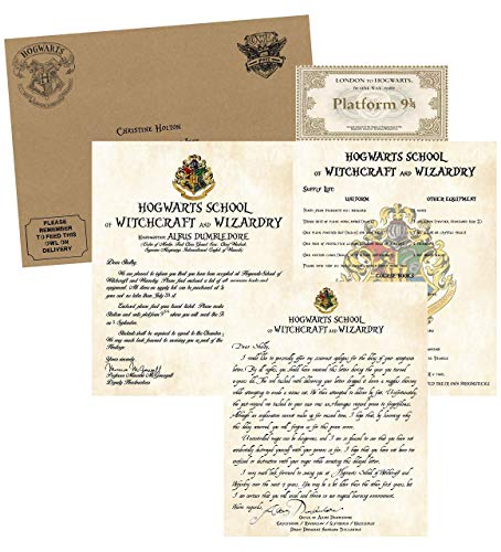 Personalized Harry Potter Acceptance & Apology for Late Delivery Letter - with Envelope, Supply List and Train Ticket