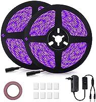 GLIME UV Schwarzlicht Led Streifen 10M 600 LEDs Lichtband UV LED Strip Kit mit Schalter Netzteil Selbstklebend LED Bänder...