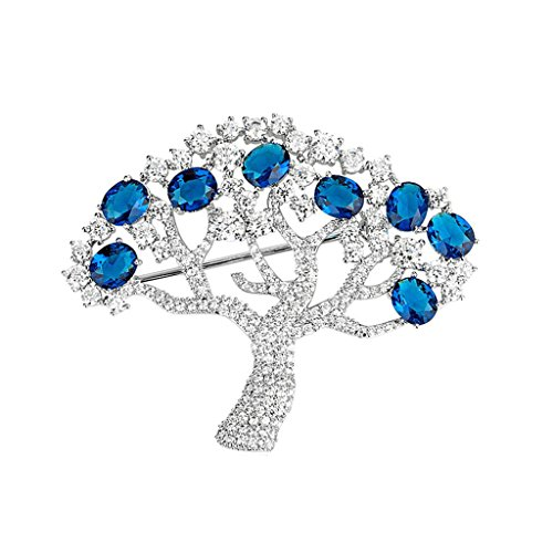 Adisaer Womens White Gold Plated Brooches and Pins for Wedding Tree Corsage Blue Cubic Zirconia Gold Plated Locket Brooch