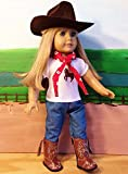 WESTERN COWGIRL COWBOY OUTFIT ~ 18 Inch Doll Clothes For American Girl HAT, BROWN BOOTS, JEANS, BANDANNA, HORSE TOP !! COMPLETE SET!