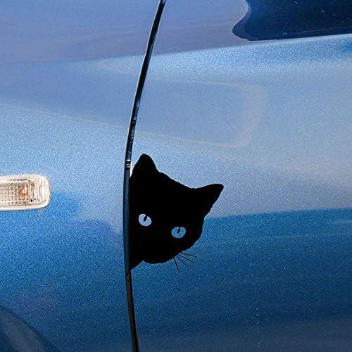 Ocamo 12x15cm Car Cat Face Pet Decal Cute Car Truck Window Bumper Wall Reflective Sticker Black