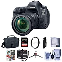 Canon EOS 6D Mark II DSLR with EF 24-105mm f/3.5-5.6 IS STM Lens - Bundle With 32GB SDHC U3 Card, Camera Case, Table Top Tripod, Cleaning Kit, 77mm UV Filter Memory Wallet, Software Package, More