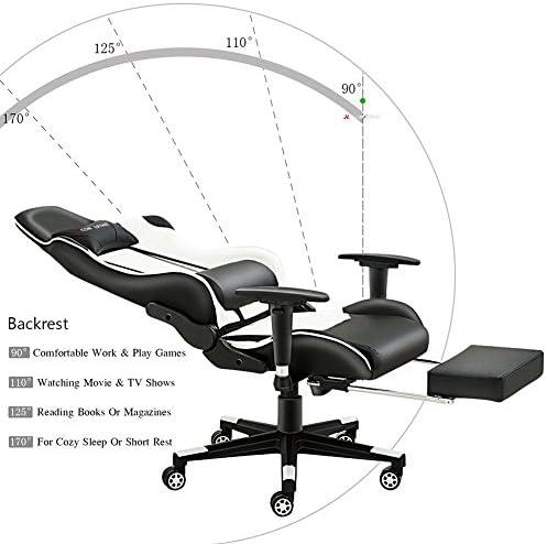 Silla de gaming de JL Comfurni, silla ergonómica giratoria de piel sintética, para casa, oficina y escritorio, reclinable, silla de estilo deportivo de carreras: Amazon.es: Hogar