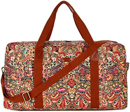 BAOSHA HB-32 Canvas Travel Duffel Bag Weekender Overnight Bag Carry on Oversized for Ladies Women (Colour)