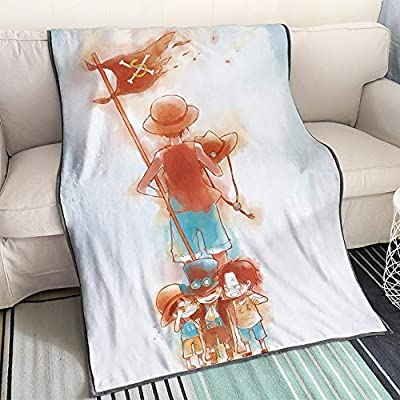 KaiWenLi ONE Piece - Childhood Luffy and Ace, Sabo/Cartoon/Anime Blanket/Soft and Comfortable/Easy to Wash/Easy to Carry/Best Bedding/Single-Sided Pattern: Kitchen & Dining