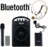 Hisonic HS210 40 Watts Rechargeable & Portable PA System with Built-in VHF Wireless Microphones, MP3 Player/Recorder & FM Radio, Remote Control Included, and Bluetooth to stream music from your cellphones and pads, Color Black