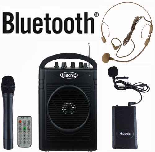 Hisonic HS210 40 Watts Rechargeable & Portable PA System with Built-in VHF Wireless Microphones, MP3 Player/Recorder & FM Radio, Remote Control Included, and Bluetooth to stream music from your cellphones and pads, Color Black by Hisonic