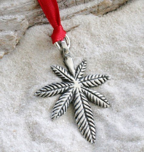 Christmas Pot (Pewter Medical Marijuana Pot Leaf Christmas Ornament and Holiday Decoration)