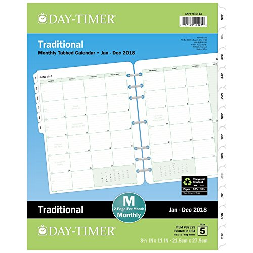 "Day-Timer Refill 2018, Two Page Per Month, January 2018 - December 2018, 8-1/2"" x 11"", Loose Leaf, Folio Size, Classic (87329-1801)"